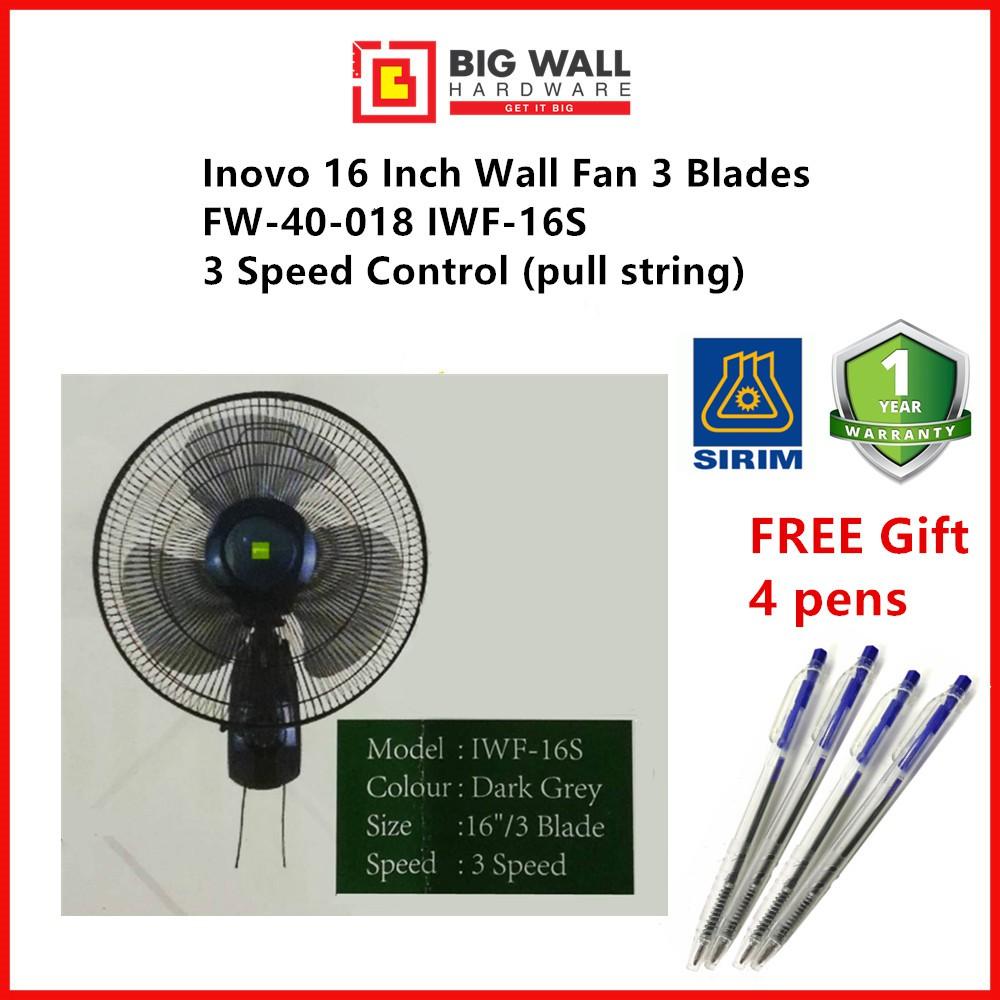 Inovo 16 Inch Wall Fan FW-40-018 IWF-16S 3 Speed Control 3 Blades Dark Grey (pull string) 1 year warranty from Malaysia