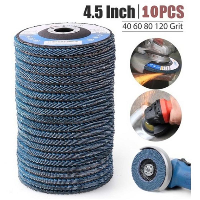 "10Pcs//Set 4/""Flap Disc 60 Grit Grinding Wheel Angle Grinder Wood Metal Polishing"