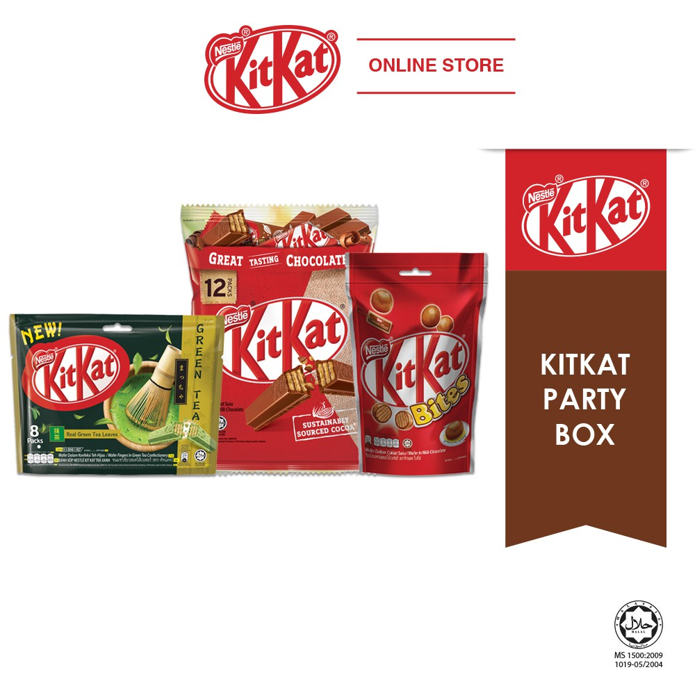 Nestle KITKAT Party Bundle (KITKAT 12s Sharebag + Bites 200g + Green Tea Sharebag)