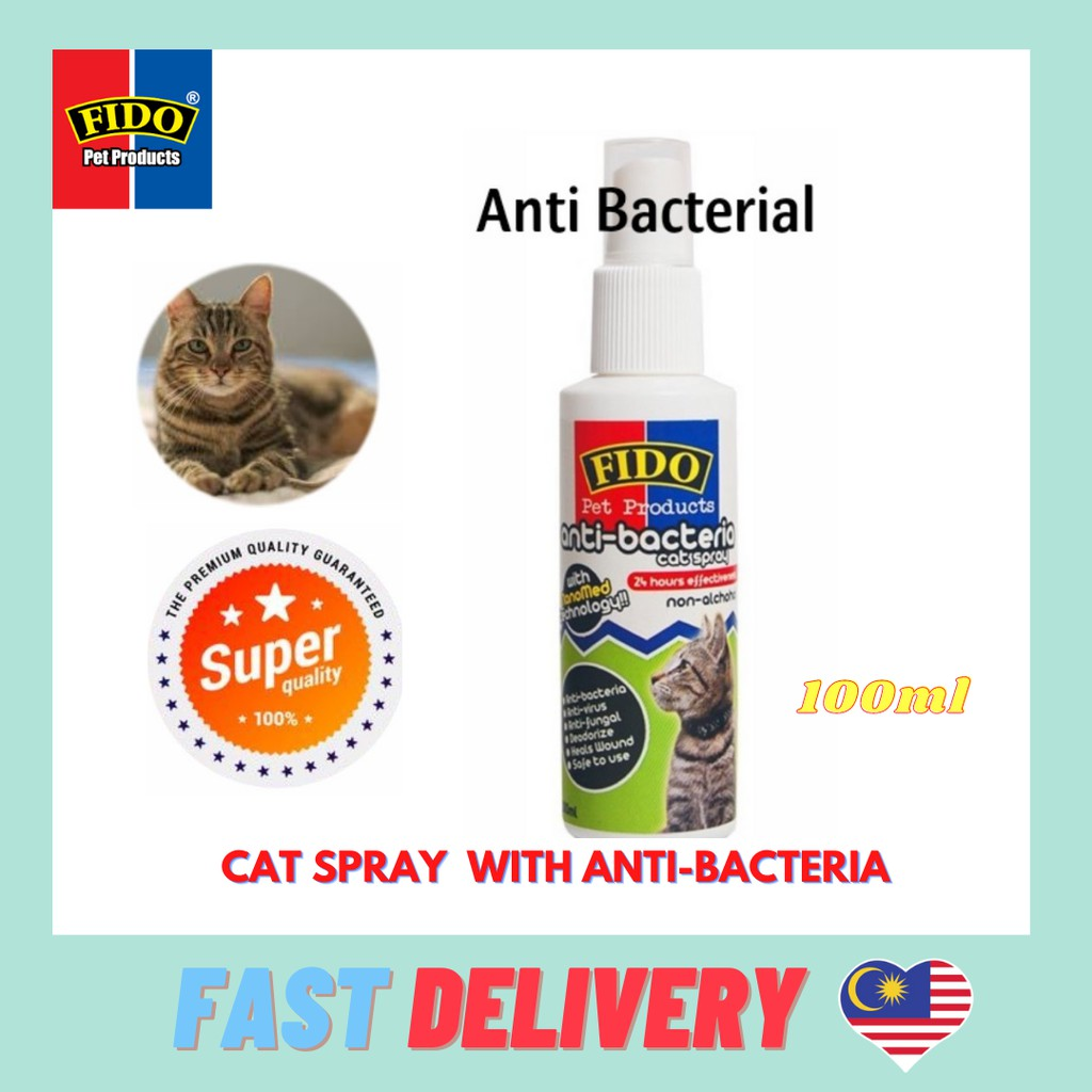 Ready Stock *100% Ready Stock and Fast Delivery* FIDO Anti-Bacterial Liquid Spray For Long or Short Coated Cats, Adult