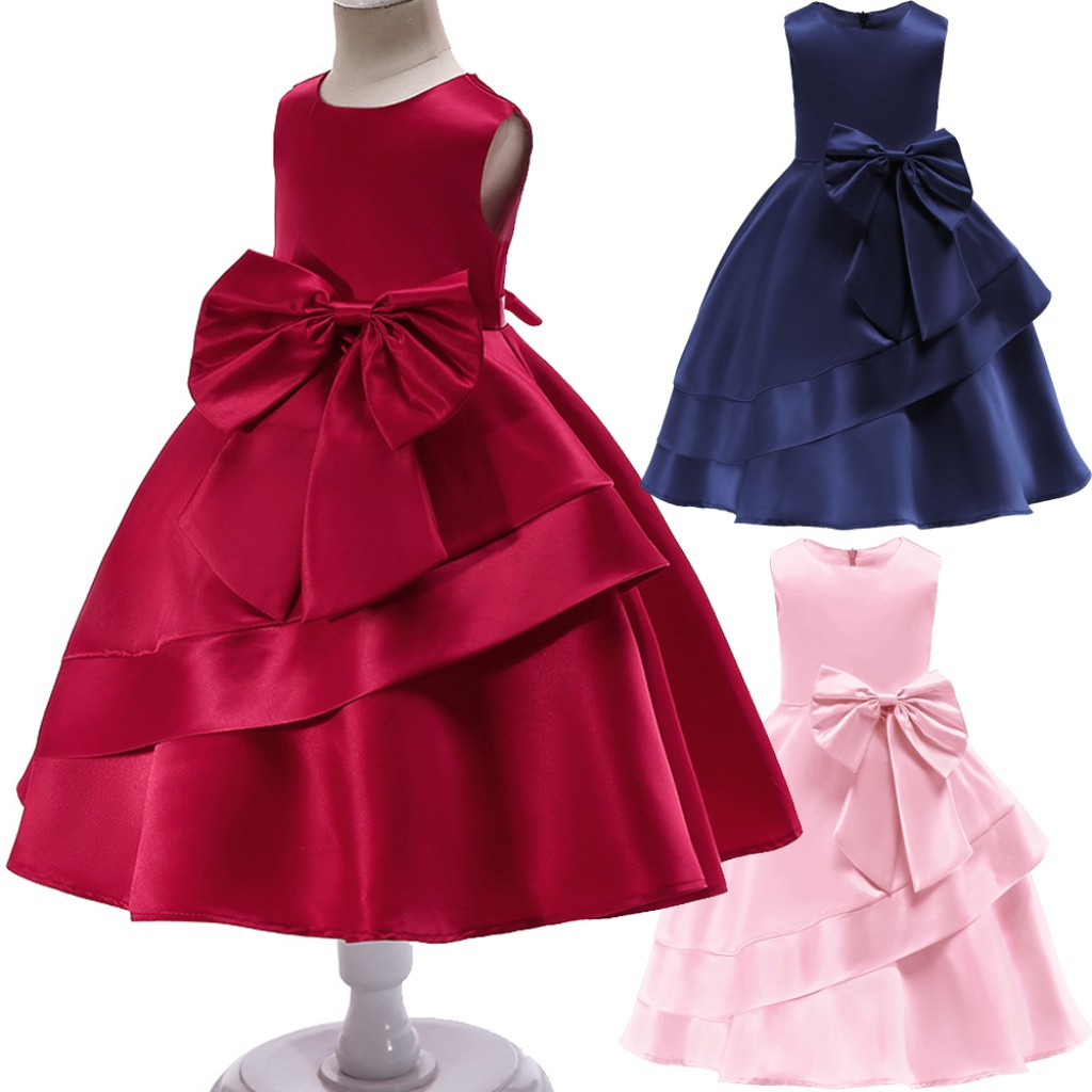 Girls Baby Kids Bow Princess Party Sleeveless Wedding Formal Dress 2 9 Years Old Shopee Malaysia,New Wedding Dress Design 2020 In Pakistan For Girl