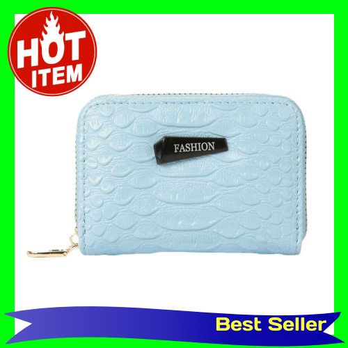 New Fashion Women Card ID Holder PU Leather Solid Color Multiple Card Slots Business Card Holder Card Holder (Blue)