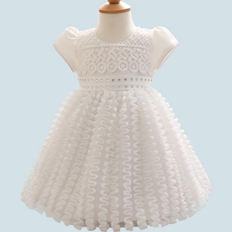 2c6d04ed85c10 Princess Dress Girls Clothing Short Sleeve Lace Kids Baby Party Wedding  Dresses