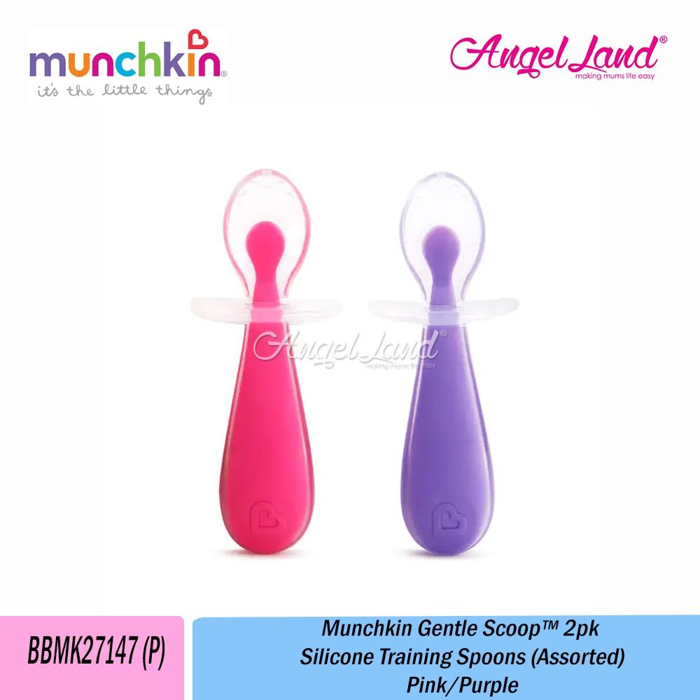 Munchkin Gentle Scoop Silicone Training Spoons 2Pk Pink//Purple
