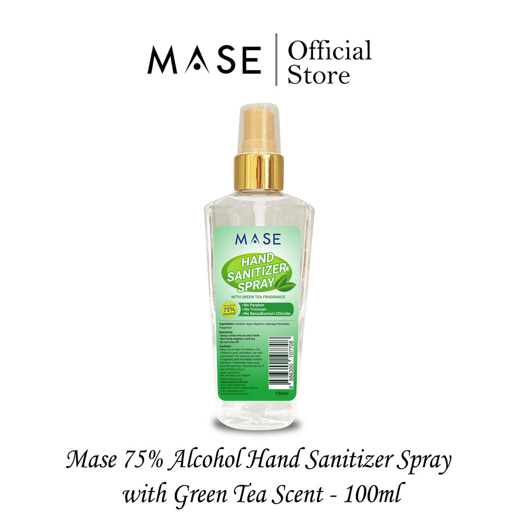Mase 75% Hand Sanitizer Spray with Green Tea Scent Special Edition (100ml)