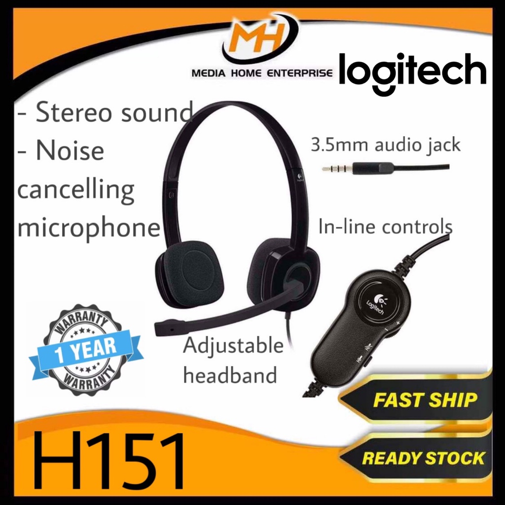 Logitech H151 Stereo Headset - Full stereo sound, Rotating Microphone, In-line Controls, 3.5mm Audio Jack