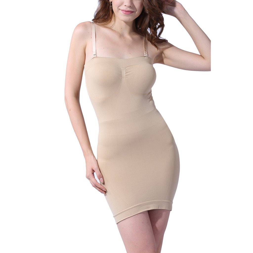 792191ef6b womens Firm Control Seamless Body Shaper Full Slip Stretch Slimming Tube  Dress