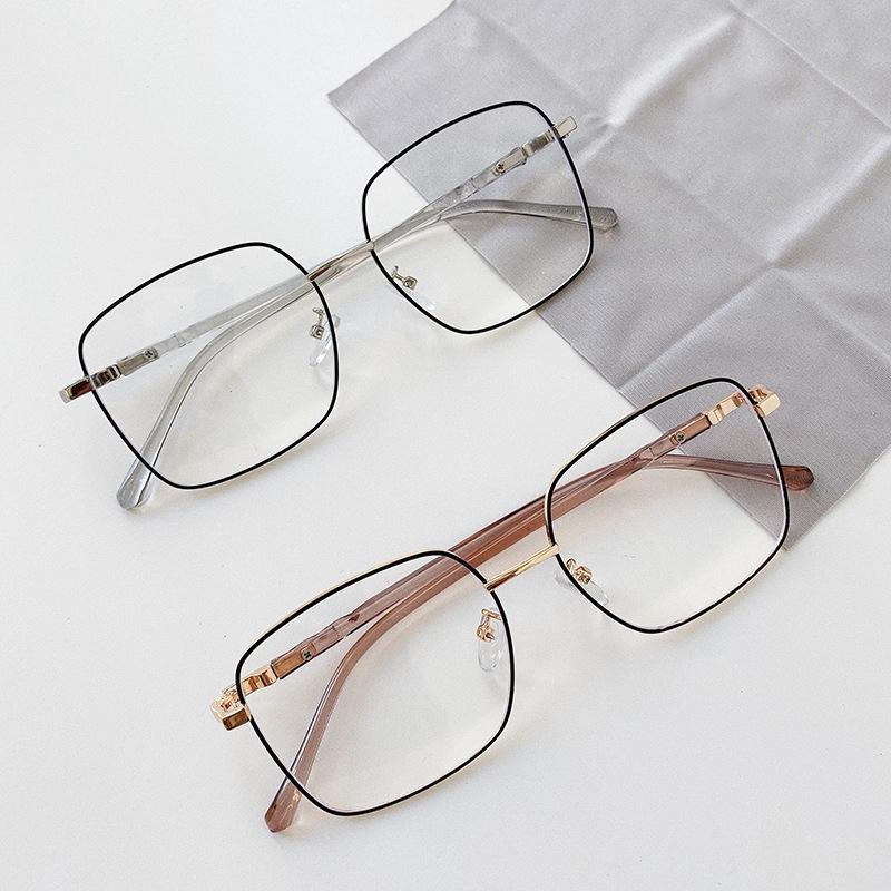 Black Frame Polygon Irregular Metal Kick-Off Myopia Glasses Frame New Flat Glasses Frame for Men Women