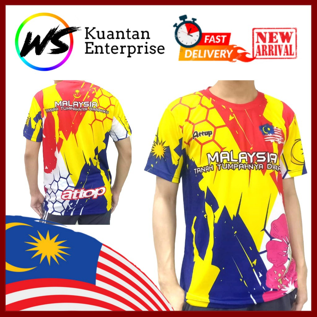 【100% Limited Edition】ATTOP Malaysia Jersey / Full Sublimation Microfiber Round Neck Short Sleeve Jersey (S - 3XL)