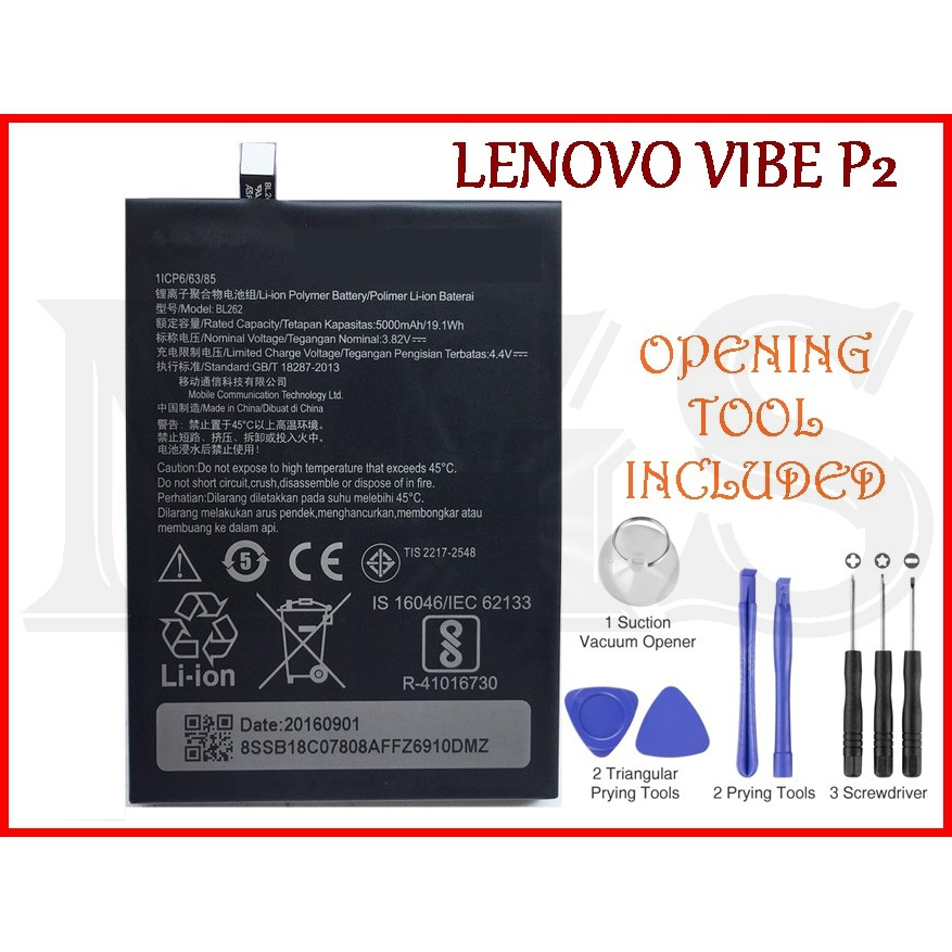 NGS) 100% ORI Lenovo VIBE P2 Battery BL262 5000mAh with