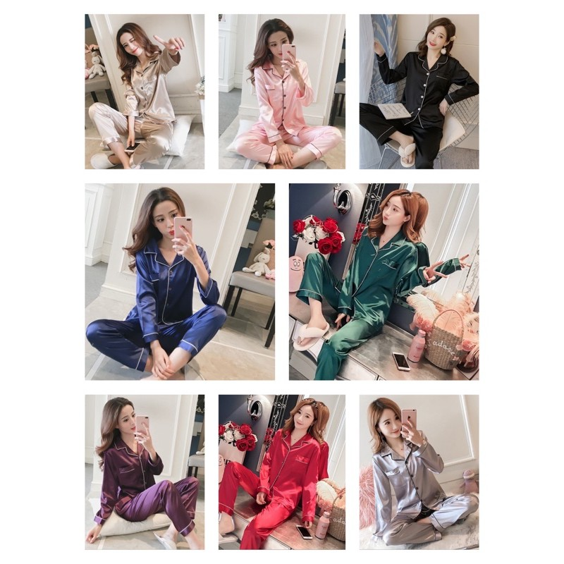 [READY STOCK] WOMEN PLAIN SATIN LONG SLEEVE & LONG TROUSER SLEEPWEAR PYJAMAS (M-L SIZE CUTTING)(57 - 64KG)
