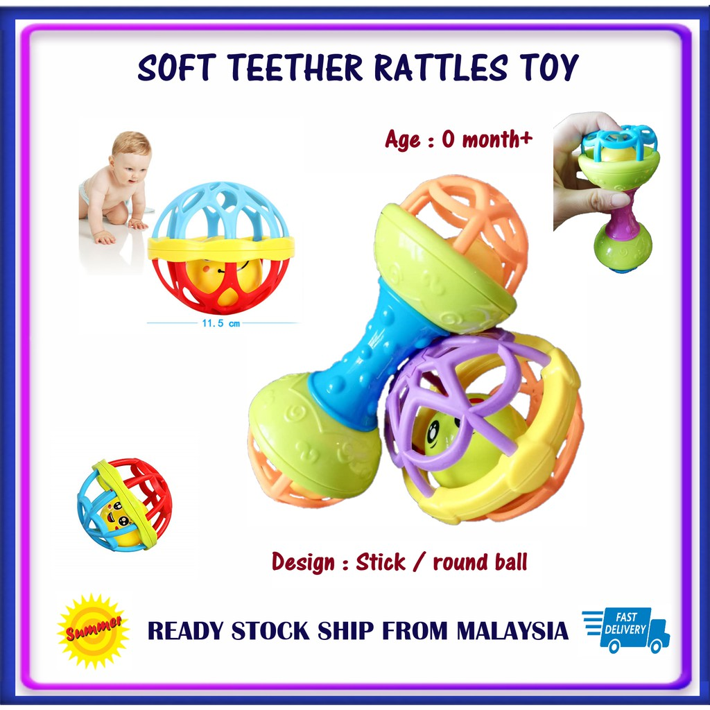 Colouful Soft Teether Rattles toy Newborn's Early Educational toys for Toddler Baby Kids mainan bayi 0-24 Months