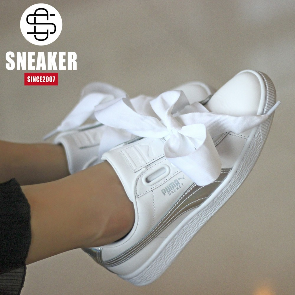 buy popular 5ffcd 2a69f Authentic Puma Basket Heart bow low help women's leisure shoes 363626-01-02
