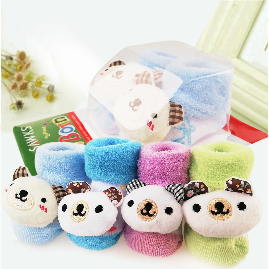 [Ready Stock]New Born Baby Socks Cute Cartoon 3D Doll Breathable Stokin Bayi - BEAR 1