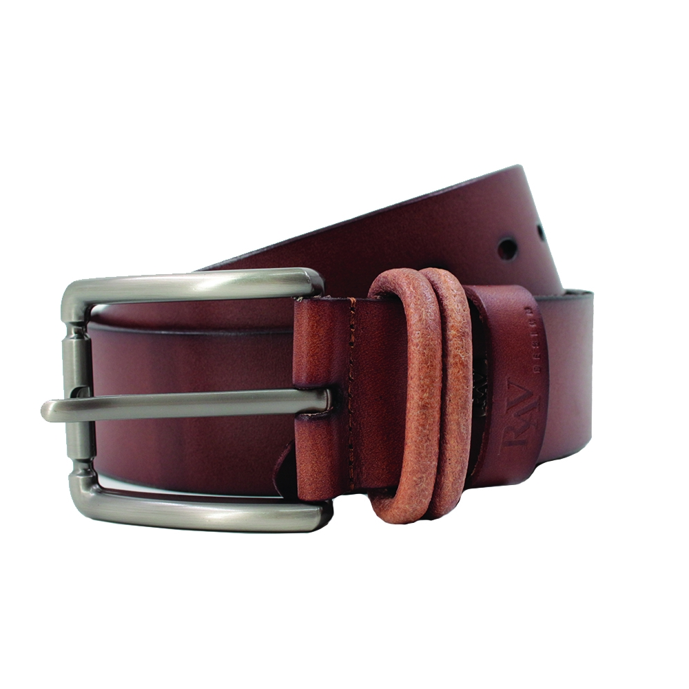 Rav Design Men's 100% Genuine Cow Leather 40mm Pin Buckle Belt Light Brown |RVB579G1