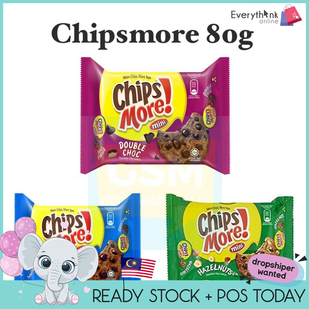 READY STOCK CHIPSMORE MINI ORIGINAL / DOUBLE CHOC 80GRAMS
