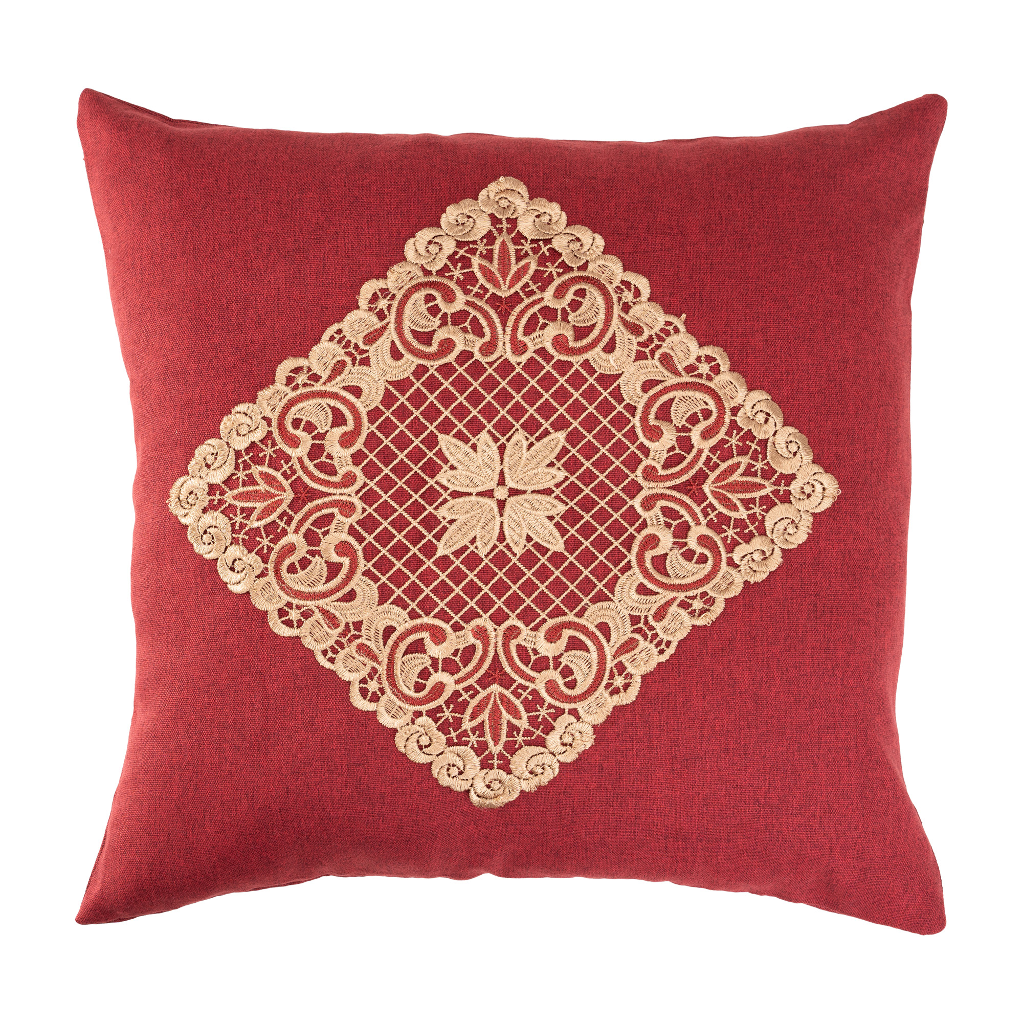 """Peranakan Lace Gold Floral Square Cushion Cover/Throw Pillow Cover. Easy Care Cation Fabric. 45x45/18x18"""" (Red Or Green)"""