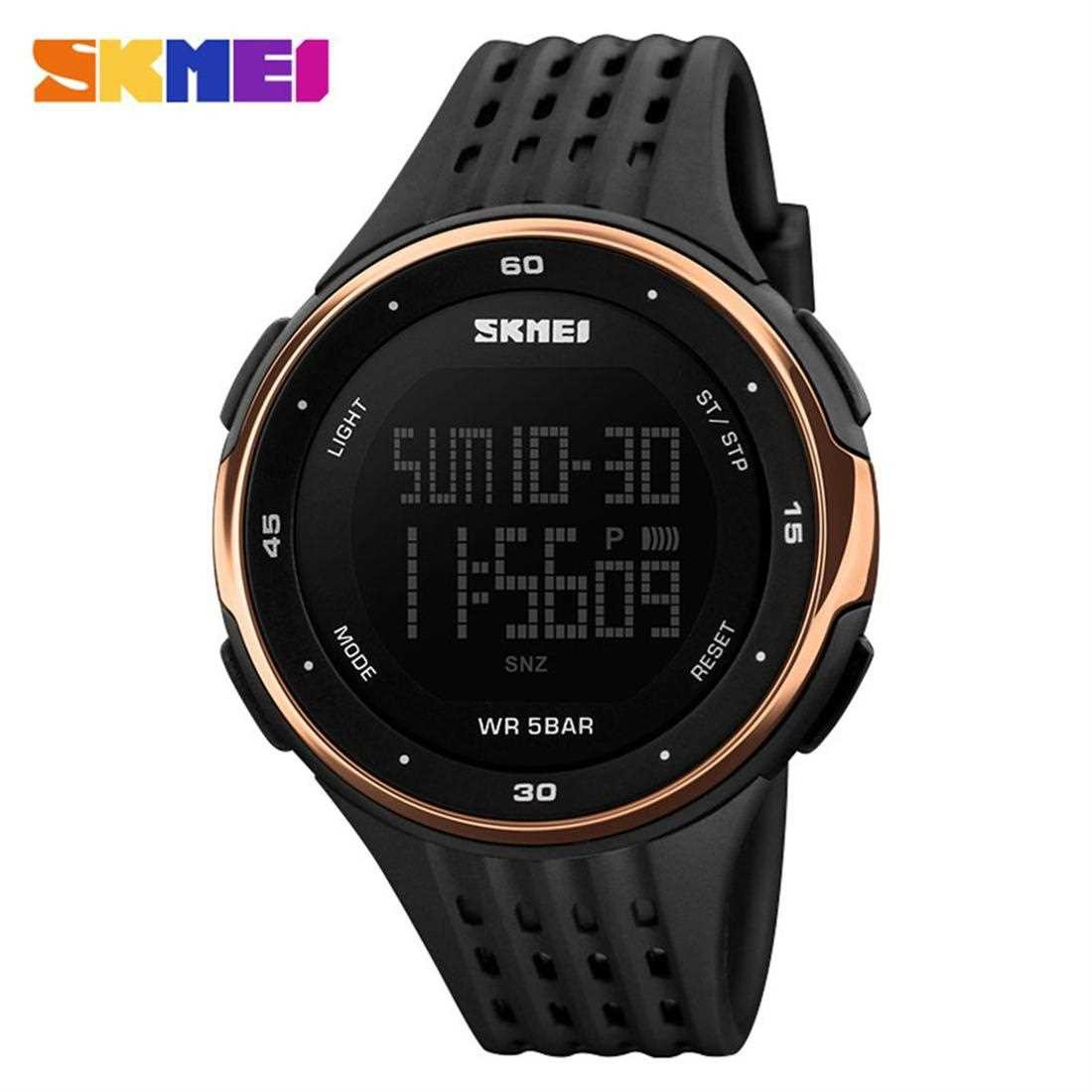 SKMEI 1219 Men Digital Wristwatch 5ATM Waterproof Outdoor Sports Chronograph (Rose Red)