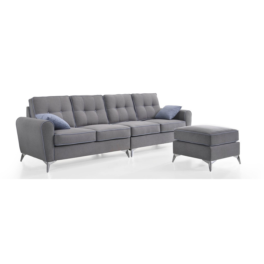 Picture of: Mia L Shaped 4 Seater Sofa In Washable Cover Grey Shopee Malaysia