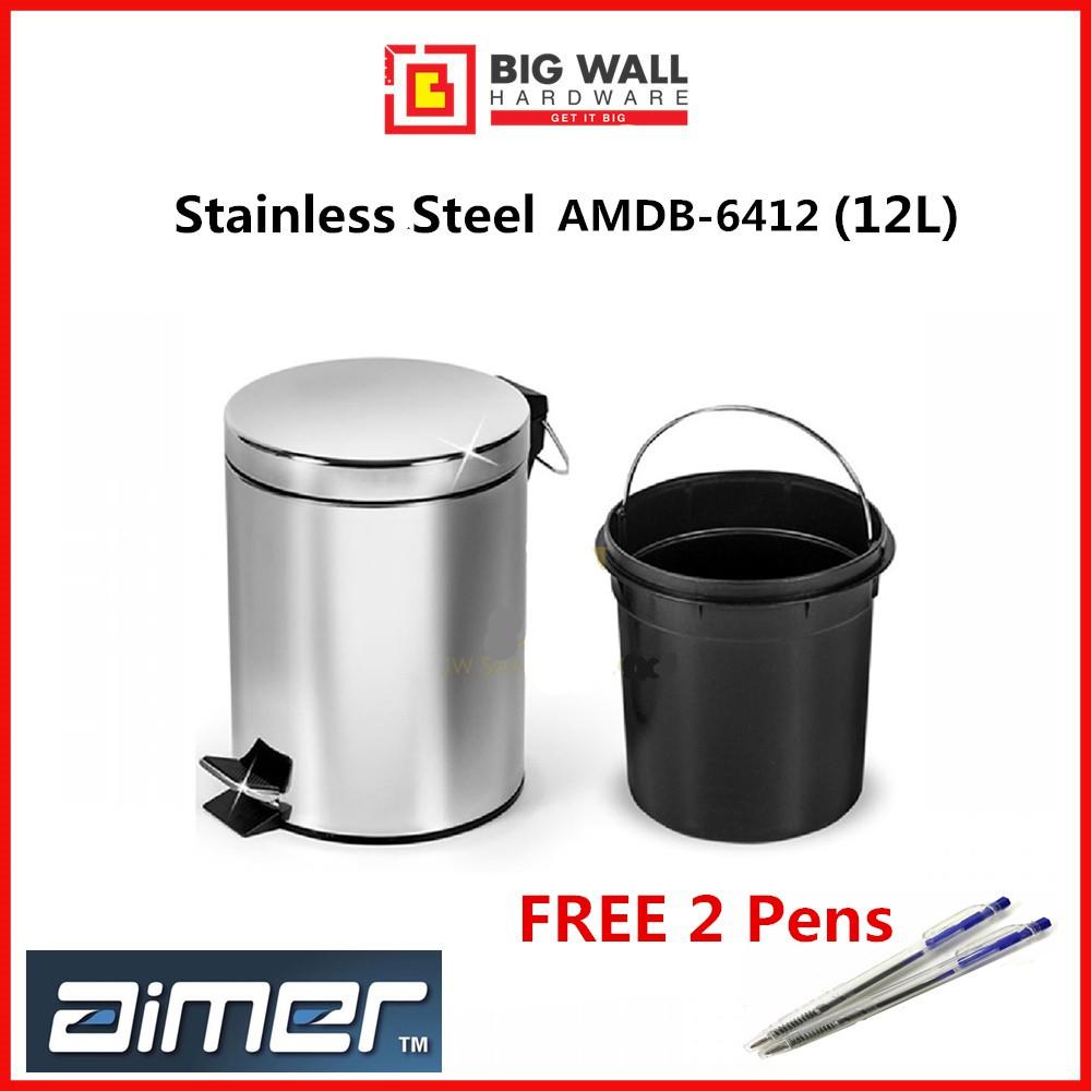 Aimer Step Pedal Stainless Steel Dustbin AMDB-6412 12L Grade SUS 401 *Tong Sampah Keluli