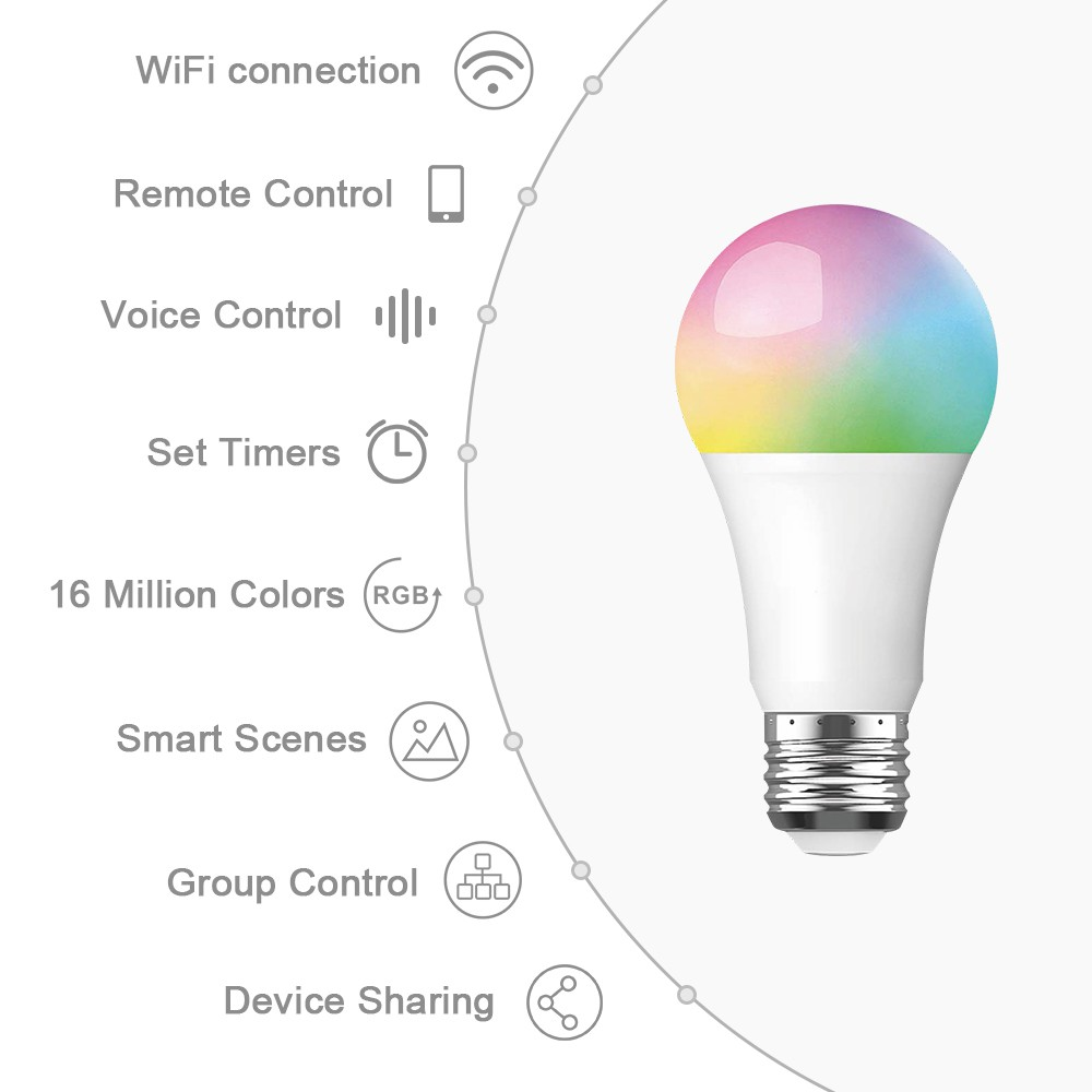 WiFi Smart Bulb 10W E27 LED Lamp RGBW Dimmable Lighting Wireless Remote  Voice Control By Alexa Google Assiant IFTTT Tuya