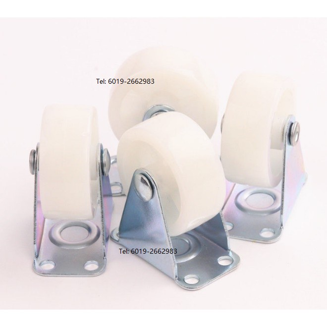 4pcs Heavy Duty 50mm PU Fixed Castor Wheels Trolley Furniture Nylon Casters