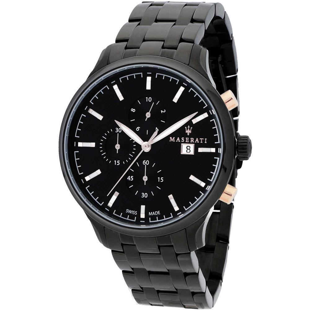 Maserati Attrazione Black Metal Band Quartz Chronograph Watches R8873626001