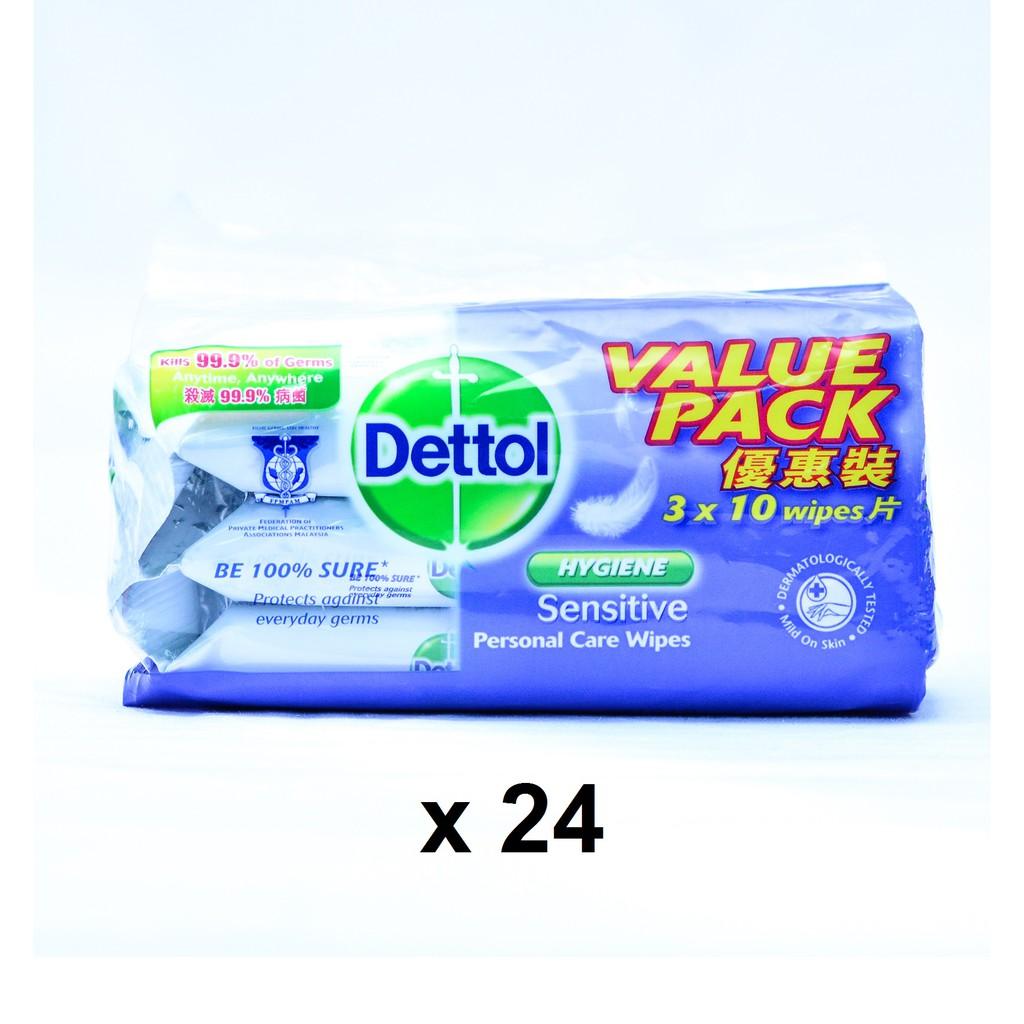 Dettol Hygiene Sensitive Personal Care Wipes 10's (3 x 24)