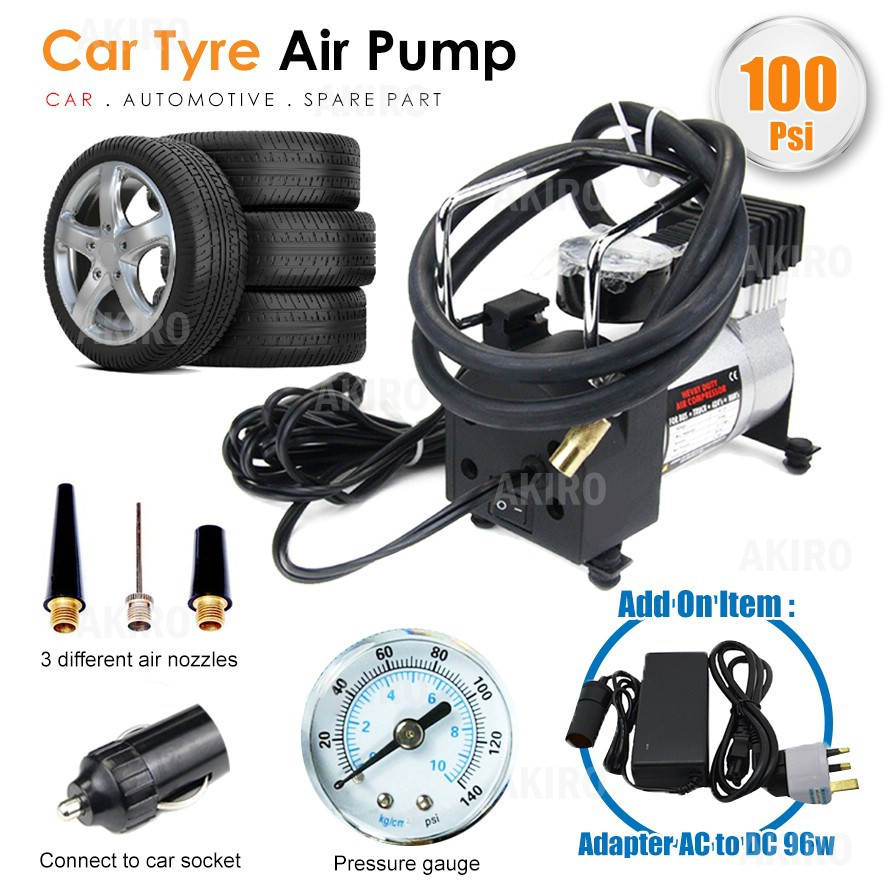 Powerful Metal 100PSI Car Tyre Air Compressor Inflator Pump Heavy Duty DC  Motor