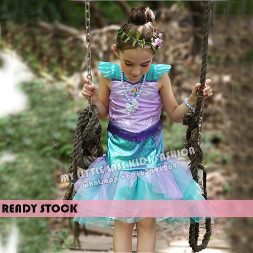 Pretty Mermaid Girl Costume Pretend Play 4-12y