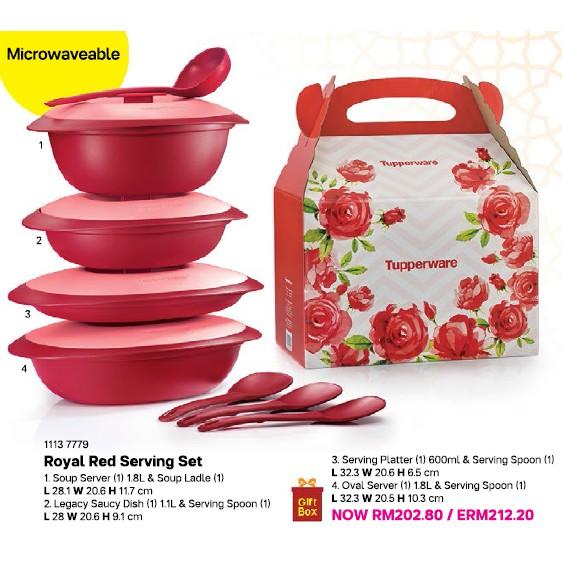 Tupperware (Full Set) Royal Red Serving Set