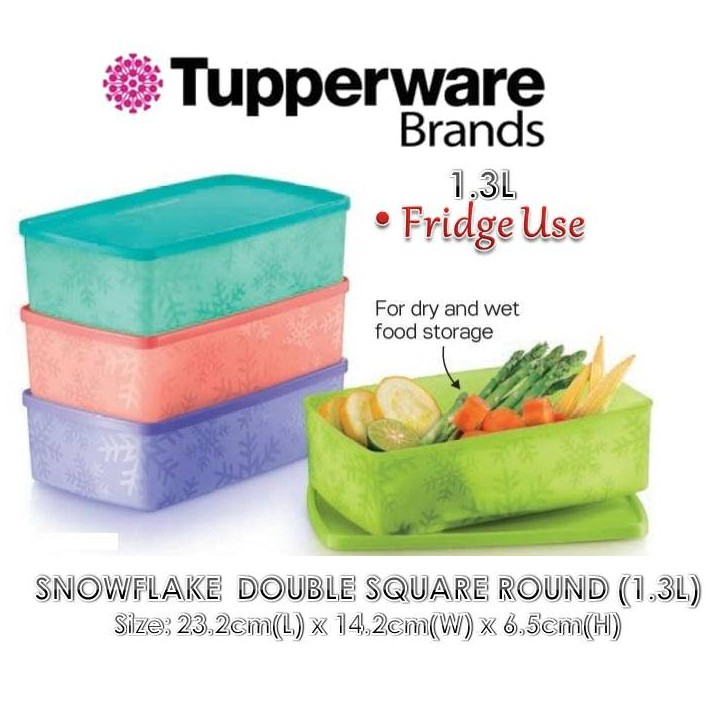 TUPPERWARE food storage Snowflake Double Square Round (1.3L) - 1pc