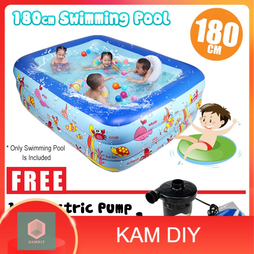180cm Inflatable 3 Rings Family Outdoor Play Swimming Pool Ball Toy Toys Sport