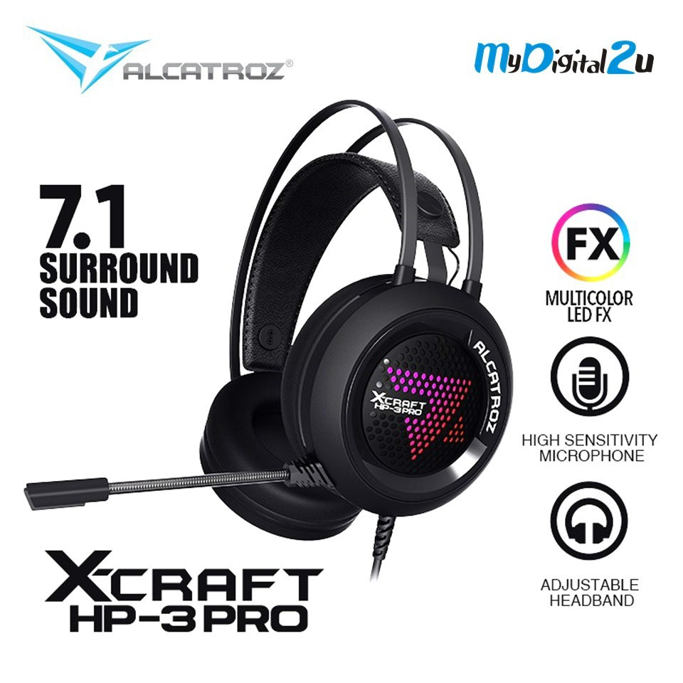 Alcatroz X-Craft HP-3 Pro (7 1 Surround) Gaming Headphones with Mic for PC  (Super Bass Gaming)
