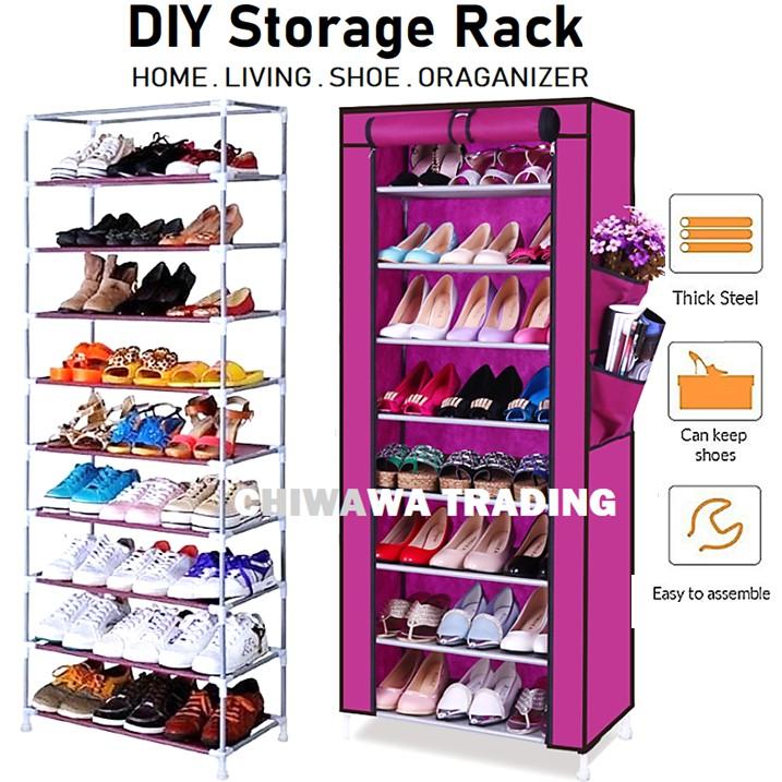 10 Tiers Dust Cover Shoes Storage Rack Wardrobe Shoe Closet Cube Cabinet Organizer Shelf / Almari Rak Kasut
