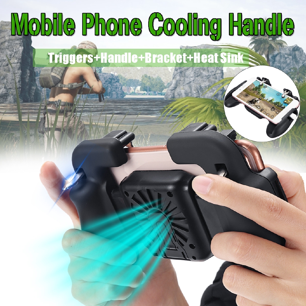 Mobile Gamepad Cooling Fan Trigger Fire Shooter Controller for PUBG Phone  Game