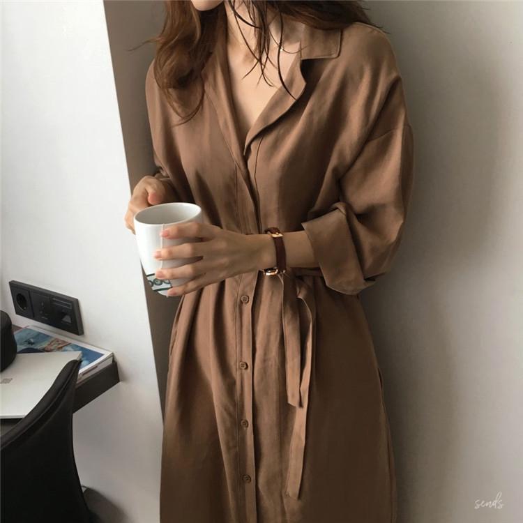 Kame Women Linen Thin Long Cardigan Shirt Casual Loose Long Sleeves Maxi Dress Korean Style F688
