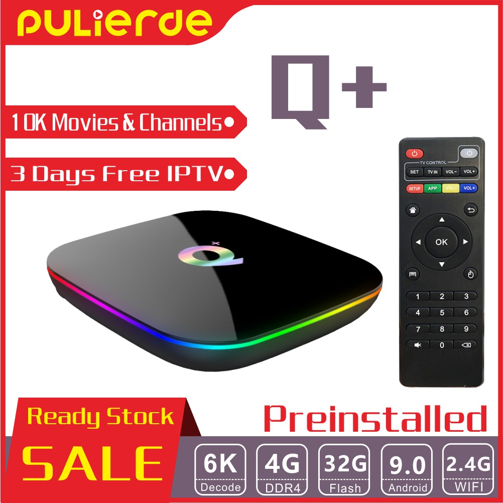 🔥PRE INSTALL🔥 Q+ 4G+32G 6K Android 9 0 TV Box 10000 Movies and channels  H6 4 Core 64bit with Remote
