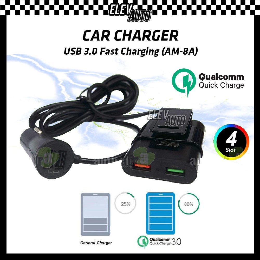 Car Charger Quick Charge Fast Charging 3.0 USB (AM-8A)