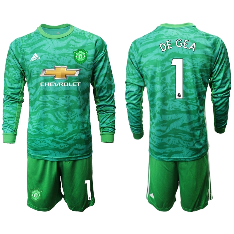 brand new 02919 63348 19/20 Manchester United Goalkeeper Jersi Football Jersey 1 De Gea Martial  Rashford James Men's Long Sleeves Kits Jerseys