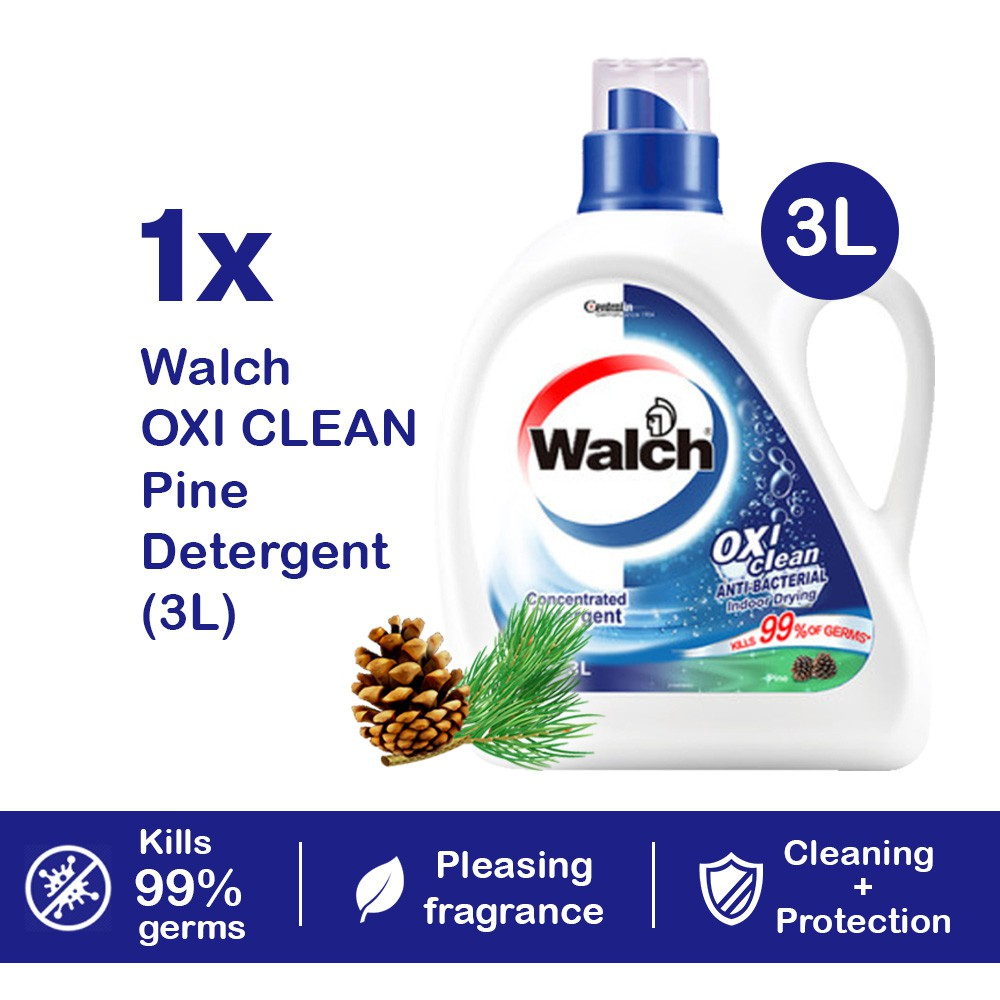 READY STOCK Walch Oxi Clean Laundry Liquid Detergent Pine 3L Antibacterial