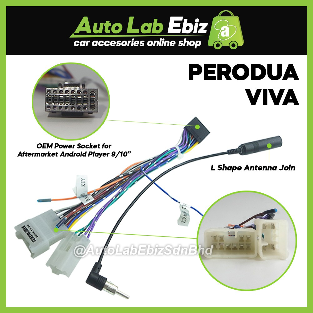 """OEM Plug and Play Power Cable Socket Perodua Series For Android Player 9""""/10"""""""