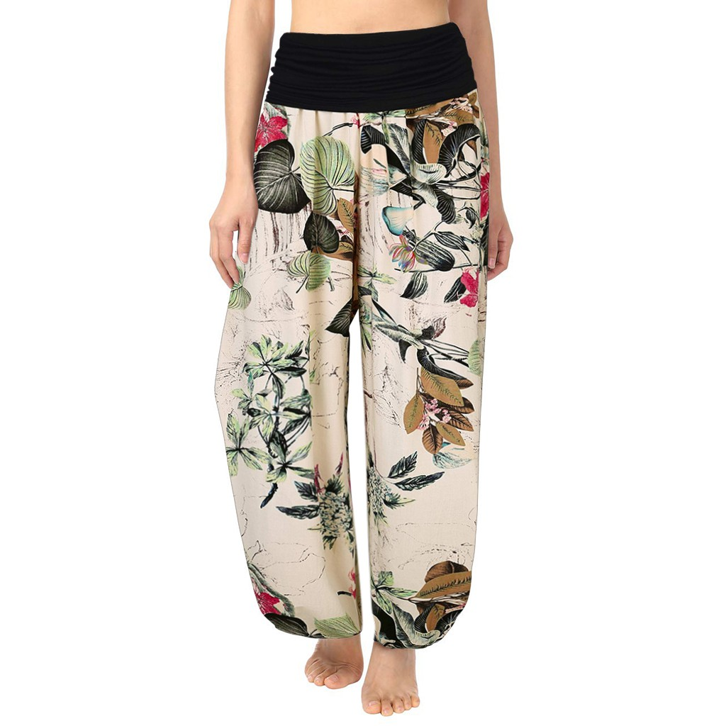 Womens Mid Waisted Palazzo Camouflage Print Loose Fit Wide Leg Lounge Pants