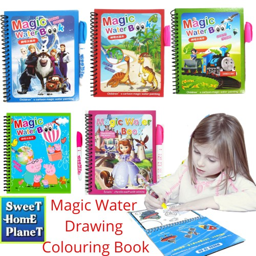 MALAYSIA SHP: BUKU MEWARNA MAGIC BOLEH GUNA BANYAK KALI / Reusable Water Drawing Book & Magic Pen Kids Early ColourinG