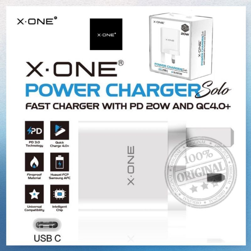 X.One® Power Charger Solo Fast Charger Iphone 12 / Samsung AFC / Huawei FCP With PD 20w and QC 4.0+