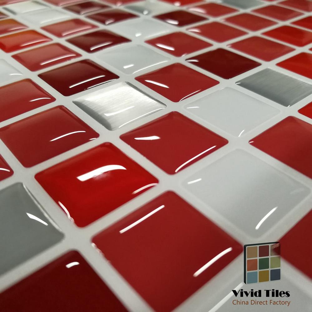 Clever Mosaics 3D Effect Waterproof Vinyl Wallpaper 3D Peel And Stick Colorful Red Mosaic Wall Tiles Sticker 1 Sheet