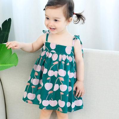 Baby Toddler Girls Summer Sundress Casual Dress 1-6 Years Old Kids Sleeveless Cartoon Fish Bag+Cat Dress