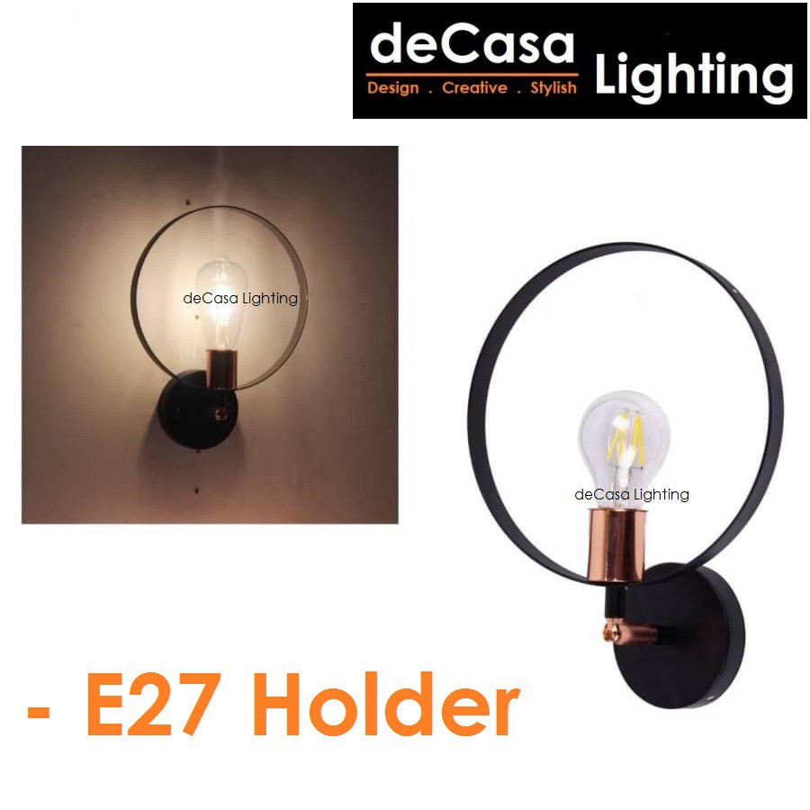 DECASA LIGHTING [Set With 4w Led Bulb] Modern Style Wall Light E27 Holder Wall Lamp Black Rose Gold Lampu Dinding (5248)