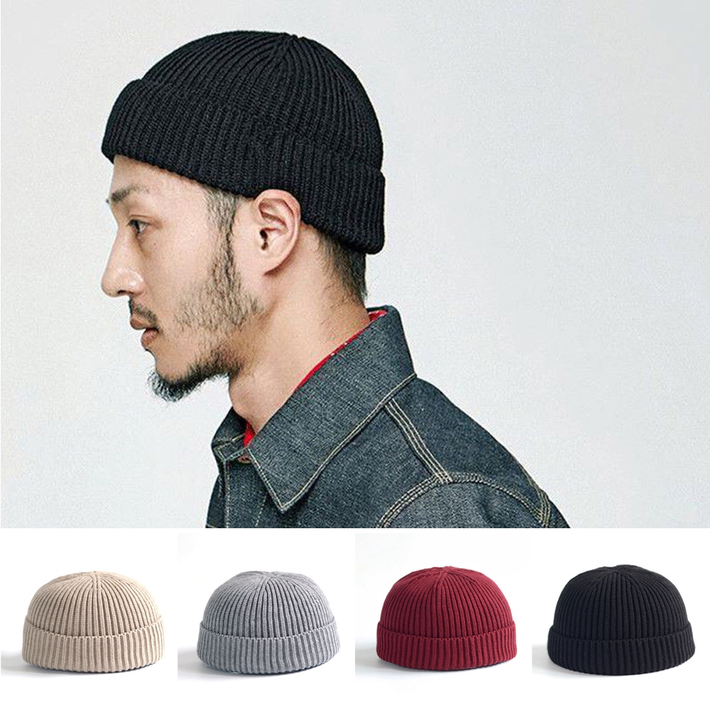 Unisex Docker Fisherman Cuff Brimless Hats Knitted Hat Beanie Skull Cap Sailor