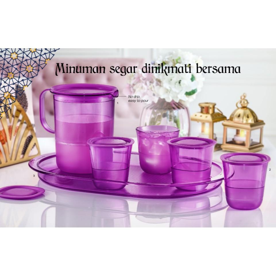 Tupperware Purple Royale Crystalline Drinking Set / Serving Tray / 1.2L / 230ml